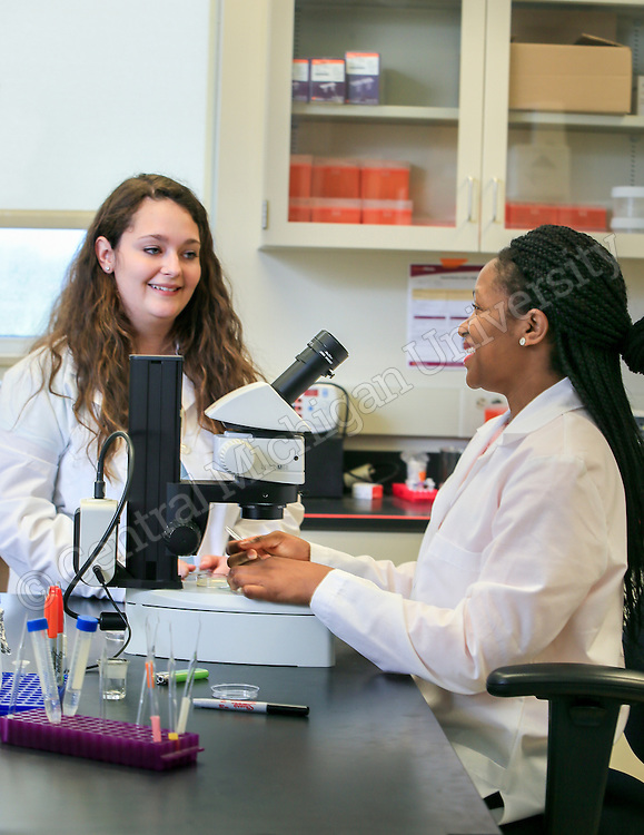 Honors Students Holly Sucharski and Axucillia Kagande do pancreatic cancer research in the CMED labs south campus. Photos by Steve Jessmore