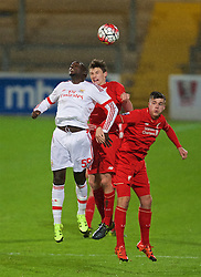CHESTER, ENGLAND - Friday, October 23, 2015: Liverpool's Matthew Virtue-Thick and Alex O'Hanlon challenge Benfica's Gilson Costa during the Premier League International Cup match at the Deva Stadium. (Pic by David Rawcliffe/Propaganda)