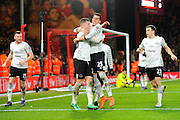 Everton midfielder Ross Barkley celebrates scoring the opening goal with Everton defender Ramiro Funes Mori during the The FA Cup match between Bournemouth and Everton at the Goldsands Stadium, Bournemouth, England on 20 February 2016. Photo by Graham Hunt.