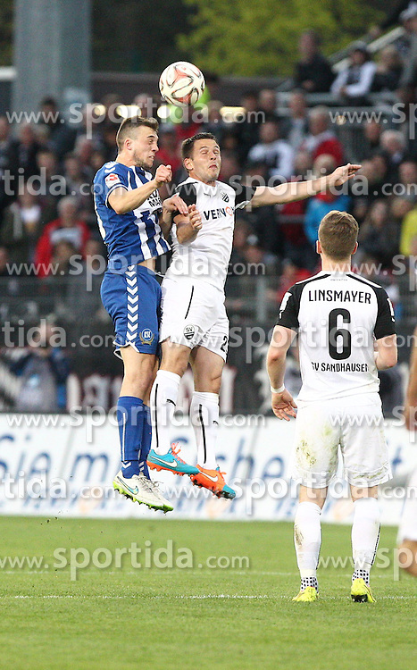 18.04.2015, Hardtwaldstadion, Sandhausen, GER, 2. FBL, SV 1916 Sandhausen vs Karlsruher SC, 29. Runde, im Bild Kevin Kratz (SV Sandhausen) im Kopfballduell mit Jonas Meffert (Karlsruher SC) // during the 2nd German Bundesliga 29th round match between SV 1916 Sandhausen vs Karlsruher SC at the Hardtwaldstadion in Sandhausen, Germany on 2015/04/18. EXPA Pictures &copy; 2015, PhotoCredit: EXPA/ Eibner-Pressefoto/ Bermel<br /> <br /> *****ATTENTION - OUT of GER*****