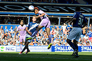 Nick Blackman heads goal to bring Reading back into the game during the Sky Bet Championship match between Birmingham City and Reading at St Andrews, Birmingham, England on 8 August 2015. Photo by Alan Franklin.
