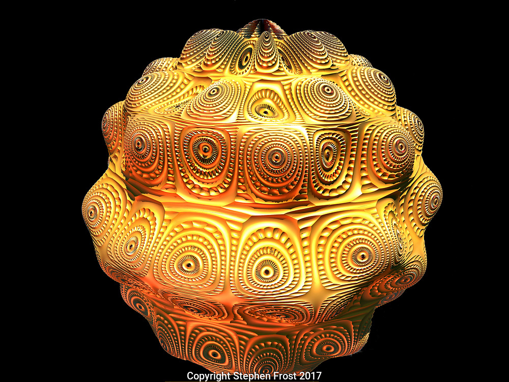A digital image based on fractals, reminiscent of gold jewellery and decoration.