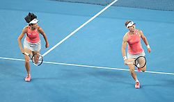 MELBOURNE, Jan. 23, 2019  Zhang Shuai (L) of China and Samantha Stosur of Australia compete during the women's doubles semifinal match against Barbora Strycova and Marketa Vondrousova of the Czech Republic at 2019 Australian Open in Melbourne, Australia, Jan. 23, 2019. (Credit Image: © Xinhua via ZUMA Wire)