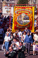 Church Lane Branch Dodworth NUM banner on the Yorkshire miners 100th gala, Barnsley. 20-06-1987.