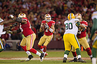 12 January 2013: Quarterback (7) Colin Kaepernick of the San Francisco 49ers drops back to pass against the Green Bay Packers during the second half of the 49ers 45-31 victory over the Packers in an NFL Divisional Playoff Game at Candlestick Park in San Francisco, CA.
