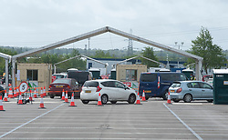 ©Licensed to London News Pictures 30/04/2020  <br /> Ebbsfleet, UK. Cars queuing on site. A Coronavirus testing site for key workers has opened in Ebbsfleet, Kent. The site is mostly a self testing site by appointment only.<br /> Photo credit:Grant Falvey/LNP