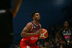 Marcus Delpeche of Bristol Flyers with a free throw - Photo mandatory by-line: Arron Gent/JMP - 07/12/2019 - BASKETBALL - Surrey Sports Park - Guildford, England - Surrey Scorchers v Bristol Flyers - British Basketball League Championship
