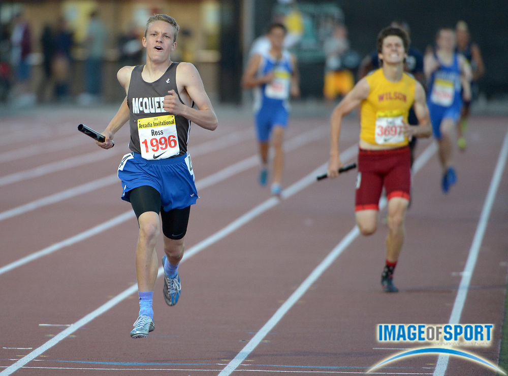 Apr 11, 2014; Arcadia, CA, USA; Connor Ross runs the anchor leg on the McQueen 1,600m sprint medley relay that own in 3:26.56 in the 47th Arcadia Invitational at Arcadia High.