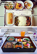 Airline Food: Economy Vs. First Class <br /> <br /> What used to be a woman's size 12 in 1968 is a woman's size 4 today; what used to be third-class is economy-class today. What changed? We've grown more sensitive: I'm not overweight, I still fit into a size 12. I'm not a third-class passenger, I'm a price conscious individual that rides in economy-class.<br /> Despite the name games, airline food hasn't changed much. Economy class meals still come in a wrapper, and business or first-class meals come with real cutlery. This list shows the sometimes striking difference between what the different classes eat.<br /> <br /> Photo shows: Thai Airlines<br /> ©Exclusivepix Media