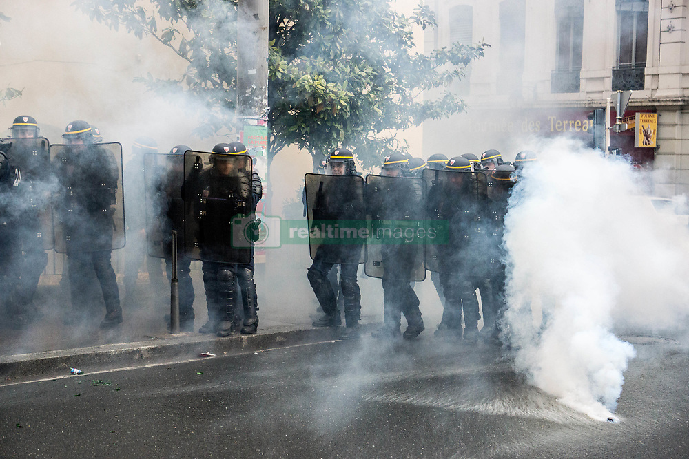 April 27, 2017 - Lyon, France - French gendarmes stand in a street during a demonstration of students protesting against the results of the first round of the French presidential election in Lyon, France on April 27, 2017. (Credit Image: © Nicolas Liponne/NurPhoto via ZUMA Press)