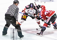 2020-01-11 | Umeå, Sweden:Referee drops the puck in  AllEttan during the game  between Teg and Piteå at A3 Arena ( Photo by: Michael Lundström | Swe Press Photo )<br /> <br /> Keywords: Umeå, Hockey, AllEttan, A3 Arena, Teg, Piteå, mltp200111