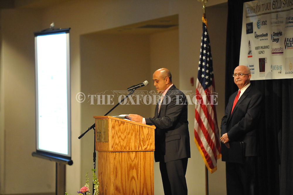 Chan Patel announces a new new hotel at the Chamber of Commerce banquet at the Oxford Conference Center in Oxford, Miss. on Tuesday, June 12, 2012.