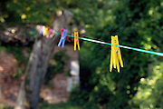 empty washing line with various colored clothespins