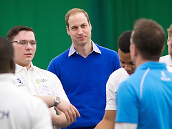 LONDON- UK - 04-DEC-2013: Prince William, The Duke of Cambridge, visits a Coach Core apprentice training session at Westway Sports Centre in London<br />  <br /> The Prince learned how the Coach Core apprenticeship project is progressing and met the advisory board and young apprentice coaches from pilot programmes in London and Glasgow, and the partner project, RBI Harlem which is supported by The American Friends of The Royal Foundation. His Royal Highness will then observe the apprentices running basketball and volleyball coaching sessions.<br /> Photograph by Ian Jones