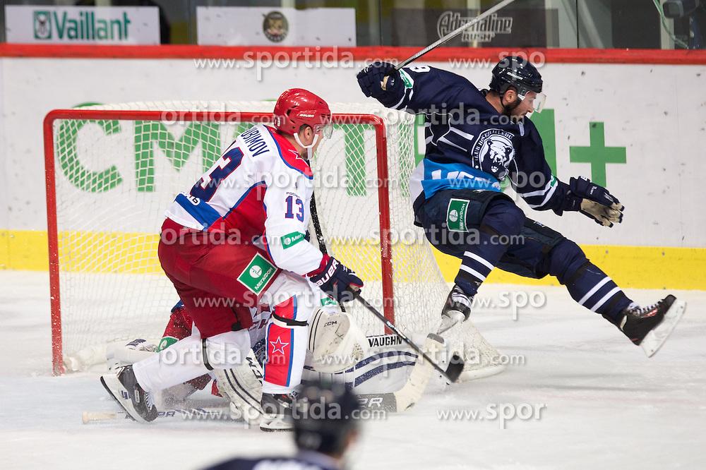 Pascal Pelletier of KHL Medvescak Zagreb falls during KHL League ice hockey match between KHL Medvescak Zagreb and CSKA Moscow, on September 18, 2014 in Dvorana Sportova, Zagreb, Croatia. (Photo By Matic Klansek Velej / Sportida)