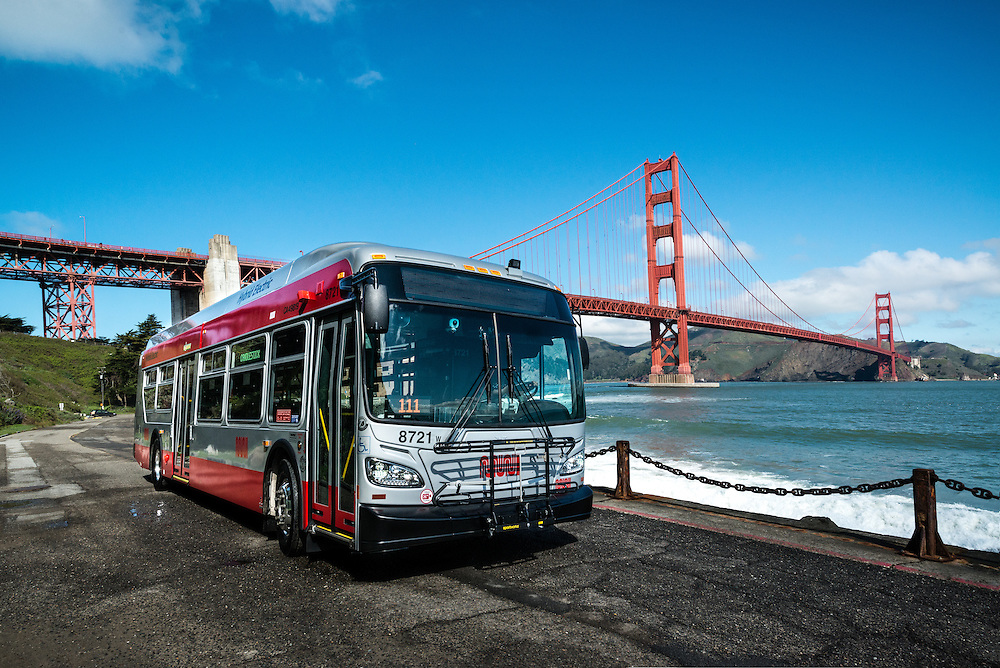 New New Flyer Hybrid Bus at Fort Point Under the Golden Gate Bridge | April 2, 2014