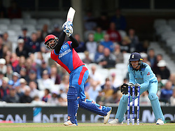 Afghanistan's Mohammad Nabi shot is caught by England's Jonny Bairstow (not pictured) during the ICC Cricket World Cup Warm up match at The Oval, London.