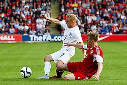 Alex Prichard of England is fouled - Photo mandatory by-line: Matt McNulty/JMP - Mobile: 07966 386802 - 11/06/2015 - SPORT - Football - Barnsley - Oakwell Stadium - England U21 v Belarus U21 - International Friendly U21s