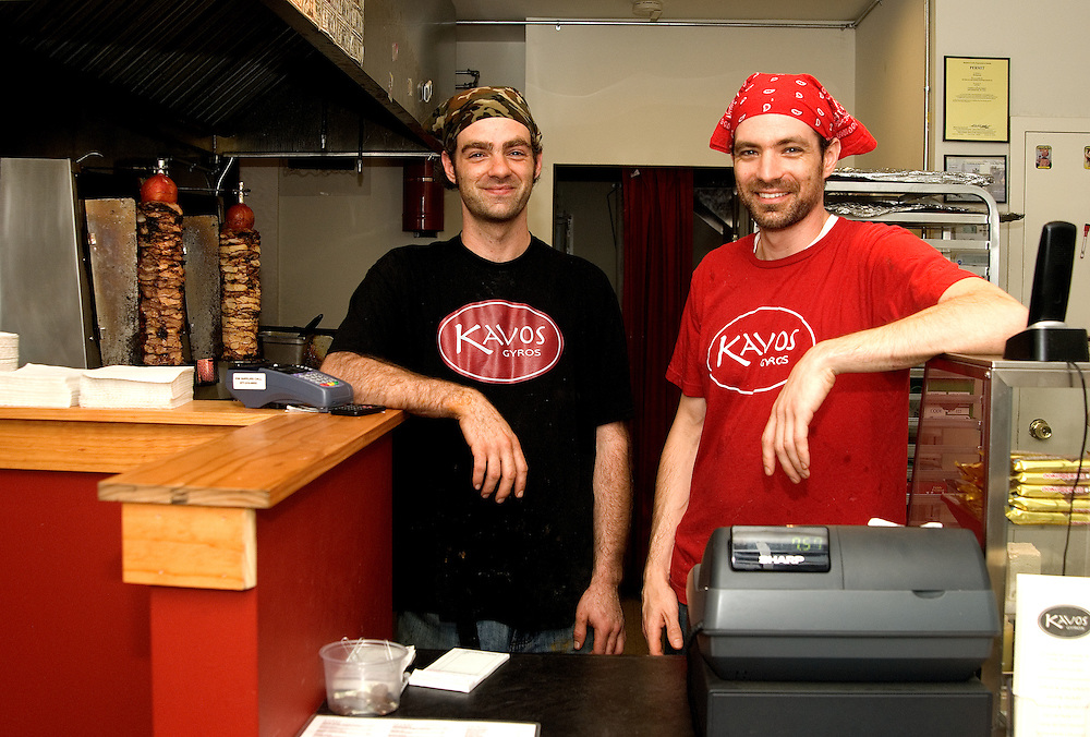 Nick and Gus Kalevas, Kavos Gyros, Poughkeepsie, NY, brothers, owners of Greek restaurant. import from Greece directly.
