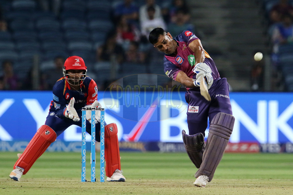 MS Dhoni of Rising Pune Supergiant plays a shot during match 9 of the Vivo 2017 Indian Premier League between the Rising Pune Supergiants and the Delhi Daredevils held at the MCA Pune International Cricket Stadium in Pune, India on the 11th April 2017<br /> <br /> Photo by Vipin Pawar- IPL - Sportzpics