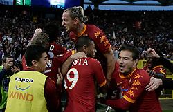Roma, 07-11-2010 ITALY - Italian Soccer Championship Day 10 -  Lazio - Roma..Nella Foto: Il gol di Vucinic (R).Photo by Giovanni Marino/OTNPhotos . Obligatory Credit