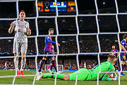 Barcelona goalkeeper Marc-André ter Stegen (1) saves a shot from Liverpool midfielder James Milner (7) during the Champions League semi-final leg 1 of 2 match between Barcelona and Liverpool at Camp Nou, Barcelona, Spain on 1 May 2019.