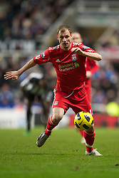 NEWCASTLE, ENGLAND - Saturday, December 11, 2010: Liverpool's Milan Jovanovic in action against Newcastle United during the Premiership match at St James' Park. (Photo by: David Rawcliffe/Propaganda)