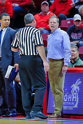 NORMAL, IL - November 03: Grey Gionanine has a chat with referee Tom O'Neill Jr. during a college basketball game between the ISU Redbirds  and the Augustana Vikings on November 03 2018 at Redbird Arena in Normal, IL. (Photo by Alan Look)