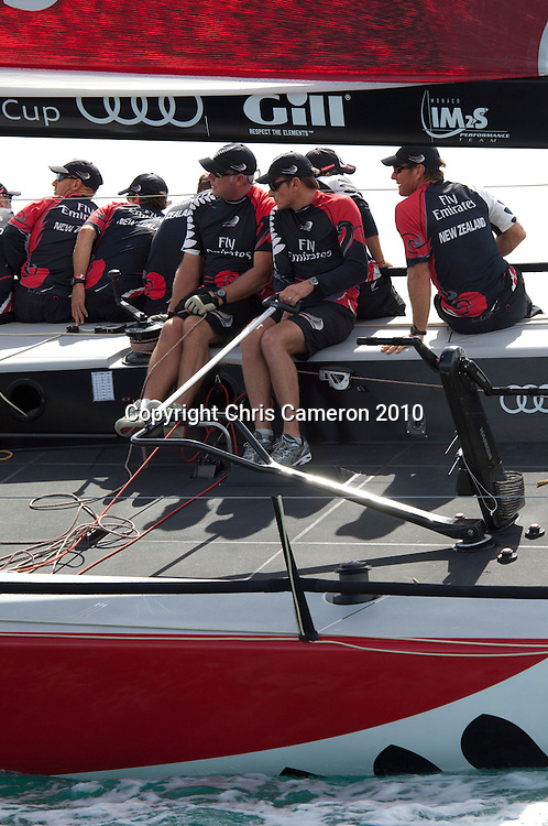Emirates Team New Zealand, Main sail trimmer Don Cowie and helmsman Dean Barker. Race one on Day one of the Trophy of Sardinia, Audi MedCup 2010. 21/9/2010
