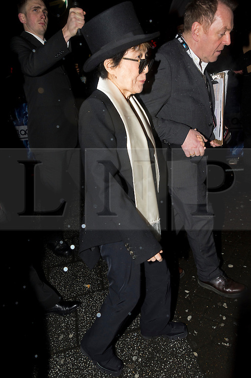 © Licensed to London News Pictures. 17/02/2016. YOKO ONO arrives at the NME Awards 2016 with Austin, Texas.  Previous winners of NME's Godlike Genius Award include Suede, Blondie, The Clash, Paul Weller, The Cure, Manic Street Preachers, New Order & Joy Division, Dave Grohl, Noel Gallagher and Johnny Marr.  London, UK. Photo credit: Ray Tang/LNP