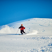David Lottmann skiing Iceland at sunrise