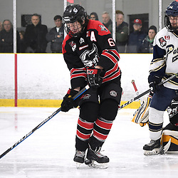 TORONTO, ON  - APR 10,  2018: Ontario Junior Hockey League, South West Conference Championship Series. Game seven of the best of seven series between Georgetown Raiders and the Toronto Patriots. Jacob Payette #6 of the Georgetown Raiders shoots the puck during the third period.<br /> (Photo by Andy Corneau / OJHL Images)