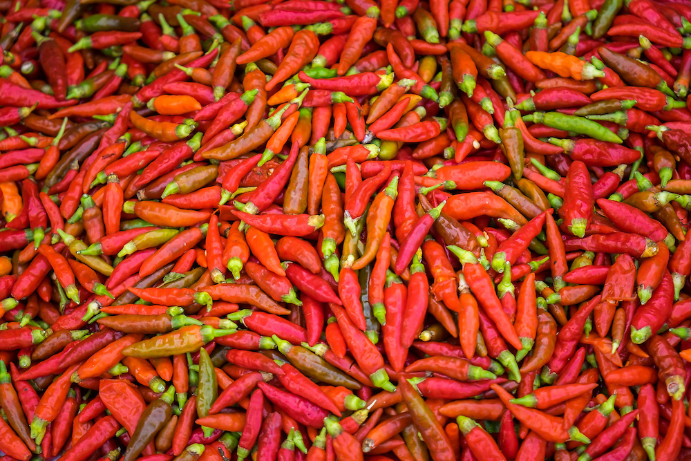 BAC HA, VIETNAM - CIRCA SEPTEMBER 2014:   Red chili peppers at the  Bac Ha sunday market, the biggest minority people market in Northern Vietnam