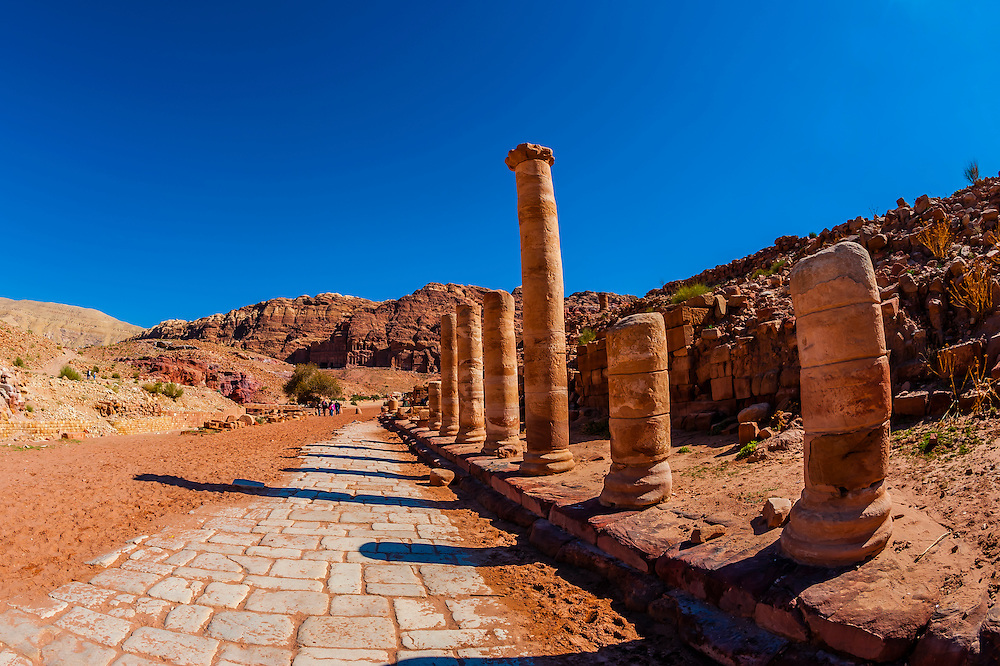Colonnaded Street, Petra Archaeological Park (a UNESCO World Heritage Site), Petra, Jordan.