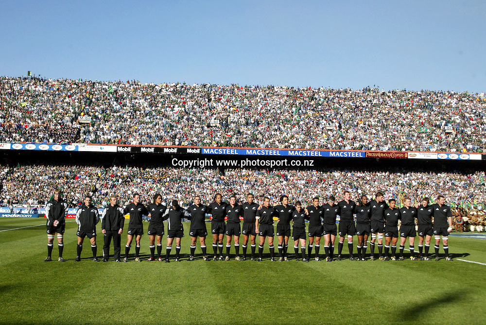 19/07/2003 Tri-Nations South Africa vs New Zealand at Loftus Pretoria - New Zealand won 52-16 - The all Blacks line up for the National Anthems