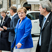 Taormina 26-05-2017 G7, A walk in the G7 leaders before the Summit in the center of Taormina; Theresa May, Angela Merkel, Paolo Gentiloni