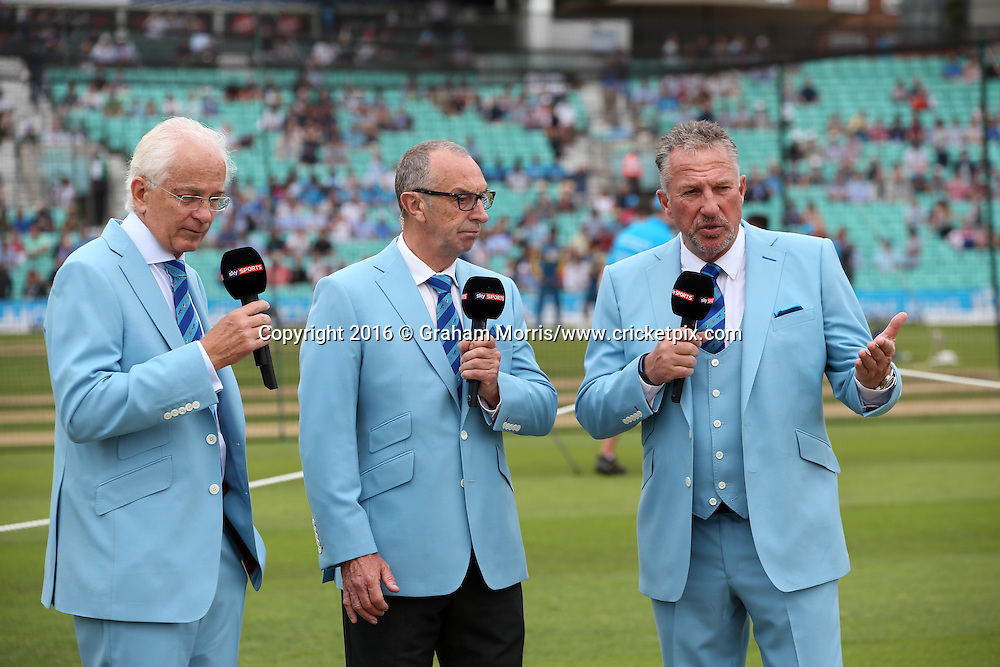 Sky TV commentators (l-r:) David Gower; David Lloyd and Sir Ian Botham, dressed in blue for the Cricket United charity day in the 4th Investec Test Match between England and Pakistan at the Kia Oval. Photo: Graham Morris/www.cricketpix.com (Tel:+44(0)20 8969 4192; Email: graham@cricketpix.com) 13/08/2016