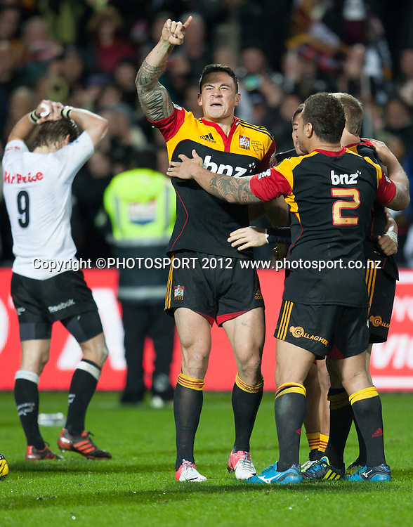 Chiefs' Sonny Bill Williams celebrates after the Investec Super Rugby final between Chiefs and Sharks won by Chiefs 37-6 at Waikato Stadium, Hamilton, New Zealand, Saturday 4 August 2012. Photo: Stephen Barker/Photosport.co.nz