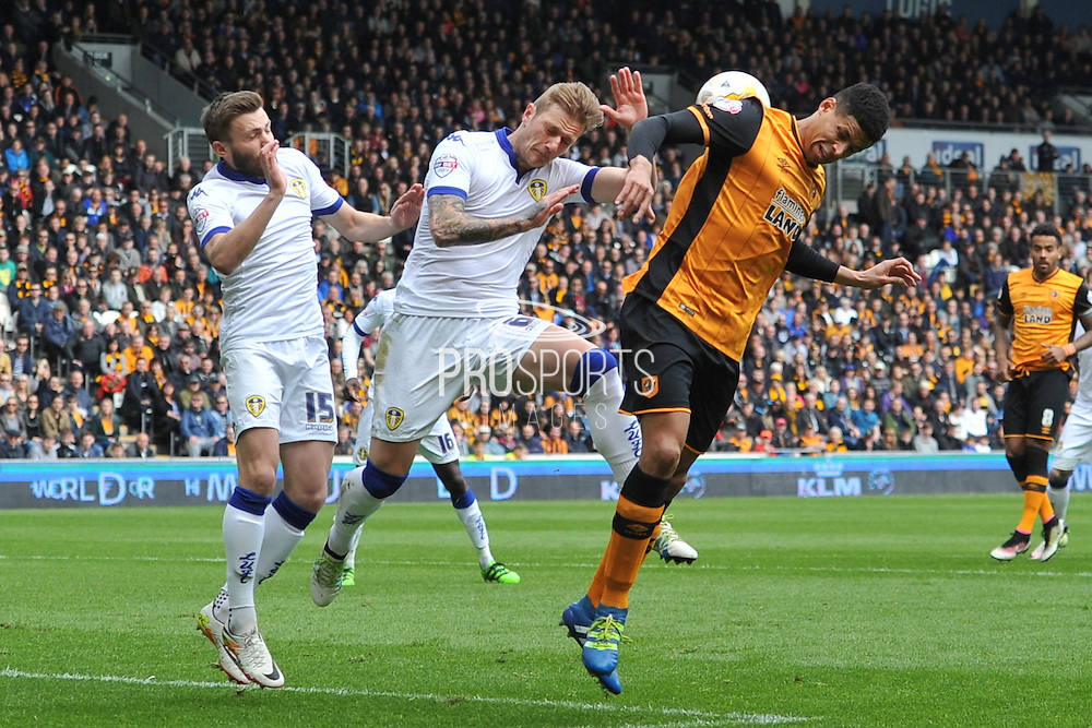 Liam Cooper (6) clears the ball from goal area  during the Sky Bet Championship match between Hull City and Leeds United at the KC Stadium, Kingston upon Hull, England on 23 April 2016. Photo by Ian Lyall.
