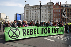 © Licensed to London News Pictures. 15/04/2019. London, UK. Extinction Rebellion members block Waterloo Bridge during a day of coordinated actions and blockades throughout London and other UK cities to highlight global climate change. Photo credit: Peter Macdiarmid/LNP