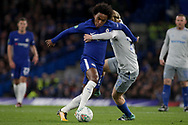 Willian of Chelsea and Tom Davies of Everton grapple as they battle for the ball.<br /> EFL Carabao Cup 4th round match, Chelsea v Everton at Stamford Bridge in London on Wednesday 25th October 2017.<br /> pic by Kieran Clarke, Andrew Orchard sports photography.