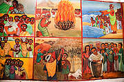 Naive Paintings (Ethiopian style) of biblical stories in a church in kalacha Kenya