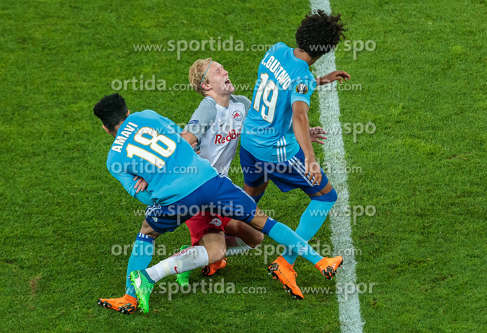03.05.2018, Red Bull Arena, Salzburg, AUT, UEFA EL, FC Salzburg vs Olympique Marseille, Halbfinale, Rueckspiel, im Bild Jordan Amavi (Olympique Marseille), Fredrik Gulbrandsen (FC Salzburg), Luiz Gustavo (Olympique Marseille) // during the UEFA Europa League Semifinal, 2nd Leg Match between FC Salzburg and Olympique Marseille at the Red Bull Arena in Salzburg, Austria on 2018/05/03. EXPA Pictures © 2018, PhotoCredit: EXPA/ JFK