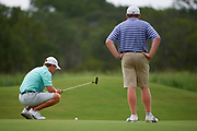 Pierceson Coody of Plano, Texas lines up a putt during the Under Armour® / Jordan Spieth Championship presented by American Campus Communities at Trinity Forest Golf Club in Dallas, Texas on August 15, 2017. CREDIT: Cooper Neill for The Wall Street Journal<br /> JRGOLF