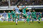 Queens Park Rangers defender Darnell Furlong (2) shoots at goal during The FA Cup 5th round match between Queens Park Rangers and Watford at the Loftus Road Stadium, London, England on 15 February 2019.