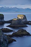 Arnarstapi at sunset, Snæfellsnes Peninsula, West Iceland.