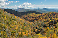 Elevated view of fall colors from Grassy Ridge Overlook, Pisgah National Forest near Brevard, North Carolina
