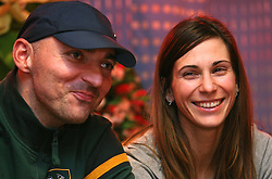 Marija (R) and her husband and coach Matija Sestak at the reception of Slovenian triple jumper Marija Sestak (Martinovic) after she jumped 15,08 m (the best score of the year in the world and nationai record) in Athens, on February 14, 2008 in M-Hotel, Ljubljana, Slovenia. (Photo by Vid Ponikvar / Sportal Images)