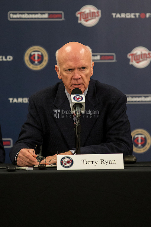 MINNEAPOLIS, MN- DECEMBER 13: Terry Ryan, general manager of the Minnesota Twins speaks to the media during a press conference on December 13, 2014 at Target Field in Minneapolis, Minnesota. (Photo by Brace Hemmelgarn) *** Local Caption *** Terry Ryan