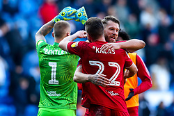 Nathan Baker and Tomas Kalas of Bristol City celebrate after beating Cardiff City - Mandatory by-line: Robbie Stephenson/JMP - 10/11/2019 -  FOOTBALL - Cardiff City Stadium - Cardiff, Wales -  Cardiff City v Bristol City - Sky Bet Championship